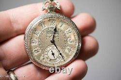 Antique Hamilton 912 Rare Pocket Watch 17 Jewel Ornate Dial with Chain & Fob