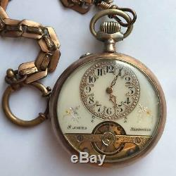 Antique Hebdomas Swiss Made 8 Day Pocket Watch with chain and stand