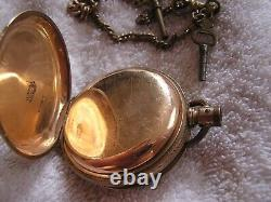 Antique Illinois Giant Pocket Watch Key Wind with Key and Chain