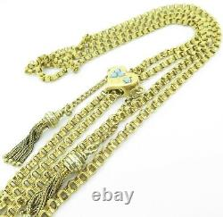 Antique Imperial Russian 15ct Yellow Gold Guard Chain 182cm Turquoise Slider