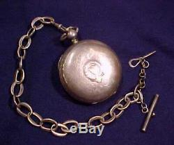 Antique Lg Keywind Waltham American Watch Hunter Coin Silver Case Sterling Chain