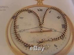 Antique Pocket Watch Chain 1890s Victorian 10ct Rose Gold Filled Albert & T Bar