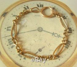 Antique Pocket Watch Chain 1890s Victorian 10ct Rose Gold Filled Figaro Link
