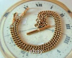 Antique Pocket Watch Chain 1890s Victorian 18ct Rose Rolled Gold Albert & T Bar