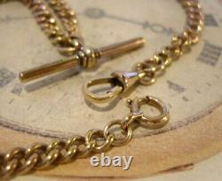 Antique Pocket Watch Chain 1890s Victorian 9ct Rose Gold Plated Albert & T Bar