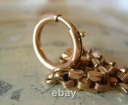 Antique Pocket Watch Chain 1890s Victorian French 14ct Rose Gold Filled Albert