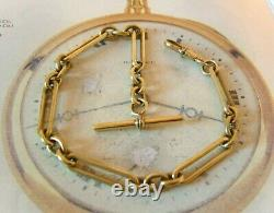 Antique Pocket Watch Chain 1890s Victorian Large Brass Fancy Albert With T Bar