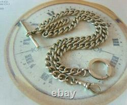 Antique Pocket Watch Chain 1890s Victorian Large Regent Silver Albert With T Bar