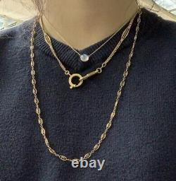 Antique Pocket Watch Chain Bar Link Necklace 18K Yellow Gold