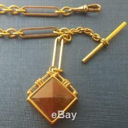 Antique Pocket Watch Chain Fancy Links Gold Filled T-bar Hard Stones Fob 10 L