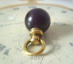 Antique Pocket Watch Chain Fob 1890s Victorian Large Brass & Amethyst Ball Fob