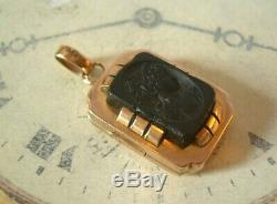 Antique Pocket Watch Chain Photograph Fob 1890s Victorian Big 10ct Gold Filled