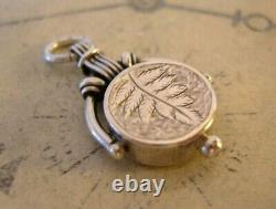 Antique Pocket Watch Chain Silver Compass Fob 1890s Victorian Working Fob
