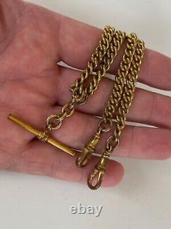 Antique Pocket Watch Chain Victorian Large 9ct Rolled Gold Filled Double Albert