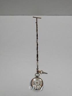 Antique Pocket Watch Sterling Silver 935 with Antique Jade Chain
