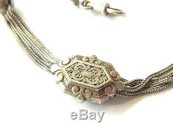 Antique SILVER CHAIN FOB with WINDING KEY Pocket Watch Ornamental Chain, ca. 1850