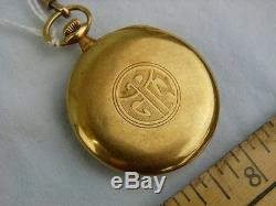 Antique Shreve, Treat & Eacret Longines 18K Gold Pocket Watch with Gold Chain