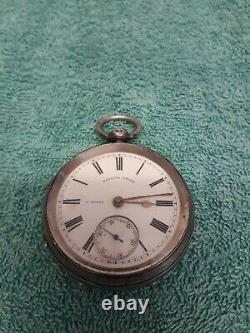 Antique Silver H Stone English Lever Pocket Watch With Silver T Bar Chain