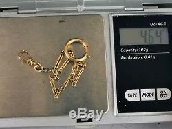 Antique Solid 10k Yellow Gold Pocket Watch Fob Chain With Two Clasps 6.5 Long