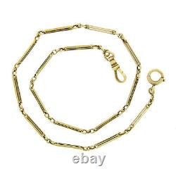 Antique Solid 14K Yellow Gold Slotted & Open Bar Link 14 Pocket Watch Chain