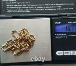 Antique Solid 14k Pocket Watch Slide Rope Chain, 13 long 16.7 grams