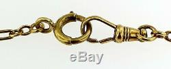 Antique Solid 14k Yellow Gold+enamelpocket Watch Fancy Links Chain15 Inches