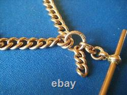 Antique Solid 9k Rose Gold Double Albert Pocket Watch Chain Graduated 46.9g. 375