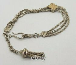 Antique Solid Silver&9k Gold Albert Pocket Watch Chain With Fob & Tassels 19.4g