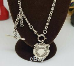 Antique Solid Silver Albert Pocket Watch Chain With Fob 19 G