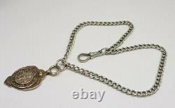 Antique Solid Silver Albert Pocket Watch Chain With Fob 29 G