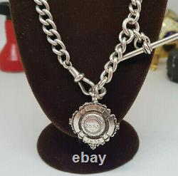 Antique Solid Silver Albert Pocket Watch Chain With Fob 55.4 G