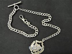 Antique Solid Silver Double Albert Chain and Fob 45.4 Grams