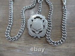 Antique Solid Silver Double Albert Pocket Watch Chain & Fob. Matching Hallmarks