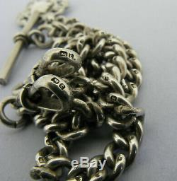 Antique Solid Silver Double Albert Pocket Watch Chain T-Bar & Fob Bir 1918