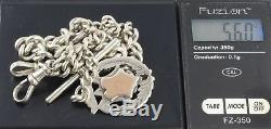 Antique Solid Sterling Silver Graduated Double Albert Watch Chain c 1917