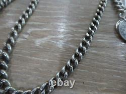 Antique Solid Sterling Silver Single Albert Pocket Watch Chain With 2 Coin Fob
