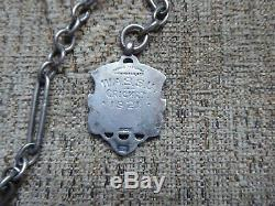 Antique Sterling Silver Albert Pocket Watch Chain & Fob