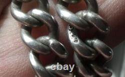 Antique Sterling Silver Double Albert Pocket Watch Chain, 45.3 Grams