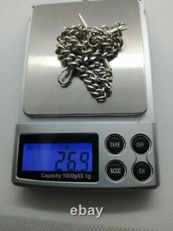 Antique Sterling Silver Double Albert Pocket Watch Chain Chester 1919
