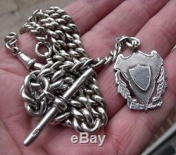 Antique Sterling Silver Double Albert Pocket Watch Chain & Gold Shield Fob, 60g
