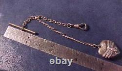 Antique Sterling Silver T-bar Pocket Watch Chain 2 Snakes Wrapped Heart Fob H. P
