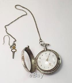 Antique Sterling Silver VERGE FUSEE Pair Case Pocket watch WORKING! Chain & Key