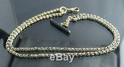 Antique Sterling silver fine jewelry pocket watch double chain fob/T-Bar