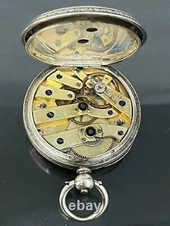 Antique Swiss 935 Silver engraved pocket watch with Silver Chain in original box