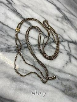 Antique Victorian 10k gold pocket watch chain With Seed Pearl Slide