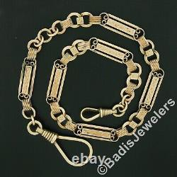 Antique Victorian 14k Gold Hand Engraved 16.5 Dual Carabiner Pocket Watch Chain