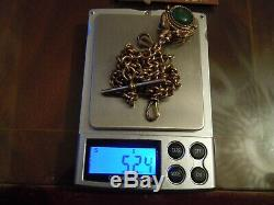 Antique Victorian 9 ct Gold Link Double Albert Watch Chain + Dove Spinner 52.4 g