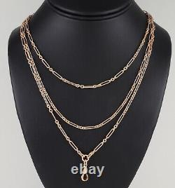 Antique Victorian 9Ct Rose Gold Long Guard Chain Necklace 59 1/2'