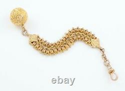 Antique Victorian 9Ct Yellow Gold Pocket Watch Fob Chain With Ball Fob