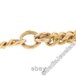 Antique Victorian 9k Gold 15 Cuban Curb Link Pocket Watch Chain with Toggle Bar